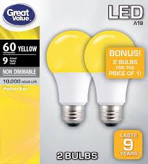 Walmart Great Value Led Light Bulbs Great Value Led A19 Yellow 9 5 Watts Medium Base Bulbs 2 Count Walmart Com