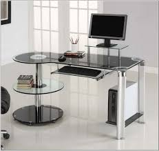 Brenton Studio Limble Glass Luxury fice Max puter Desk within