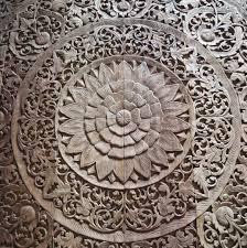Wood Carved Wall Decor Oriental Floral Handmade Bed Headboard Siam Sawadee