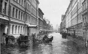 Краткая история наводнений в Санкт Петербурге Городской маршрут  Большая Подьяческая ул во время наводнения 25 ноября 1903 года