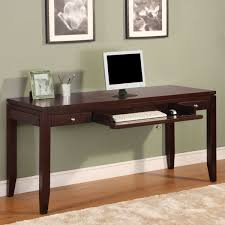 modern dark cherry writing desk with two utility drawers and a convertible keyboard pencil drawer