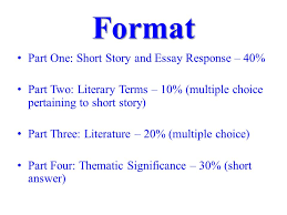 mid term exam review format part one short story and essay 2 format part one short story and essay response 40% part two literary terms 10% multiple choice pertaining to short story part three literature
