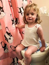 Cute Little Girl Sitting On Potty Smiling People Children