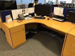 huge office desk. Delighful Desk Light Oak Managers Large Office With Screen U0026 3 Drawer Matching Pedestal Free Delivery Huge E .