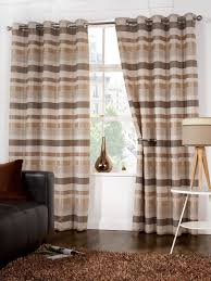 stylish trendy ringtop eyelet lined stripe pattern curtains beige brown colour