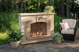outdoor great room stone arch fireplace surround burner quick view