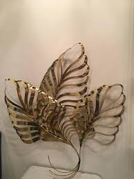 beautiful vintage curtis c jere brass palm frond leaf tree wall hanging ready to