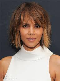 Halle Berry Layered Mid Length Hairstyle With Bangs Human Hair Capless Wigs Inches