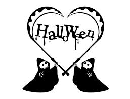 ハロウィン白黒イラスト素材 死神の鎌ハート ハートの素材屋