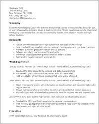 Resume Templates: Cheerleading Coach