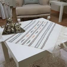 tasseled white turkish table cloth