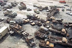 operation desert storm years since the first gulf war the a devastated convoy of vehicles on a highway north of city is visible in this aerial photo made on 1 1991 during the gulf war