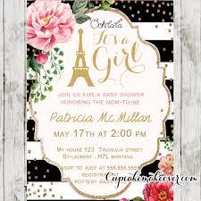 Black White Stripes Pink Floral Paris Baby Shower Invitation Personalized