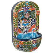 on talavera ceramic wall art with talavera wall fountain with frog