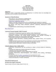Phlebotomist Resume 17 Phlebotomy Includes Skills Experience