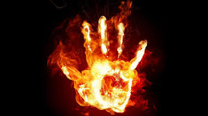 hand on fire wallpaper for free