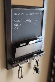 Vertical Wall Chalkboard Cork Bulletin Board with Mail Organizer and Storage,  Key hooks, and