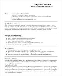 Resume Profiles Examples Resume Profile Example 7 Samples In Word A