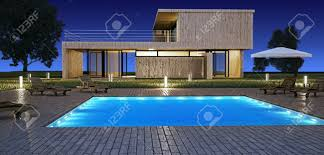 home swimming pools at night. Modern House With Swimming Pool In Night Vision Stock Photo - 8020901 Home Pools At A