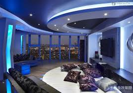 Ceiling Decorations For Bedrooms Minimalist Living Room With Gypsum Ceiling Blue Lighting Design