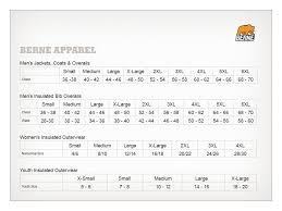 Berne Bibs Size Chart 54 Meticulous Berne Bib Overall Size Chart