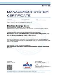 Electron Energy Corporation Receives Iso 9001 2015 And As9100d