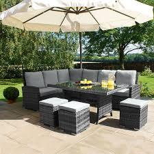 magnificent rattan outdoor dining set maze rattan kingston corner sofa dining set grey 999 my