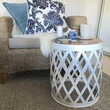 kids storage hammered metal side table small metal table round metal drum table chrome drum