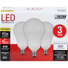 Feit Ceiling Fan Light Bulbs Feit Electric A1540c 10kled 3 Feit 40w Equivalent Frost A15 Warm White Non Dimmable Candelabra Base Led Light Bulb 3 Pack