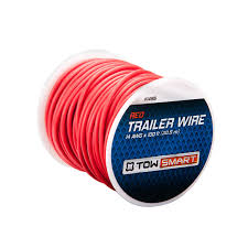 trailer wiring connector 4 way flat 21′ towsmart 100 ft x 2mm trailer wire red 100 ft x 2mm trailer wire red