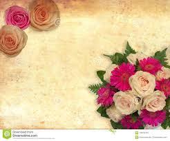La Tarjeta Con Las Rosas Florece En El Fondo Del Vintage