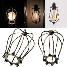 Industrial Cage Work Light Chandelier Vintage Iron Wire Bulb Cage Lamp Guard Shade Trouble Lights