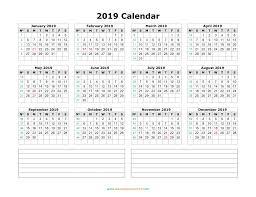 Blamk Calendar Blank Calendar 2019