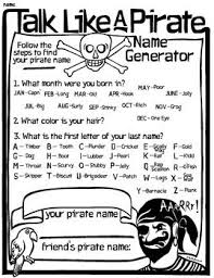Talk Like A Pirate Day - Name Generator | PARTY | Pirate crafts ...