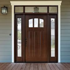 home depot front doors with sidelightsSteves  Sons 64 in x 80 in Craftsman 3 Lite Arch Stained