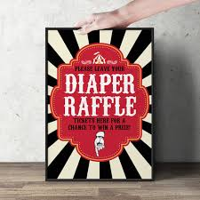 raffle sign diaper raffle sign vintage circus printable file