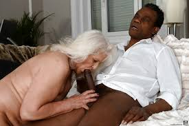 Grandma sucks black cock