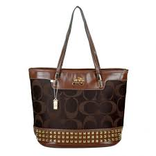 Coach Tanner Stud Medium Coffee Totes DKJ