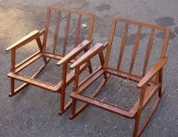 mid century italian wood rocking chairs 2 w new cushions stamped italy