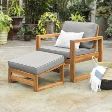 patio chair with cushion and ottoman