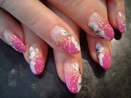 Big French Nails with flowers - Nail Art at Violeta