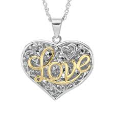 details about script love filigree heart pendant in sterling silver 10k gold