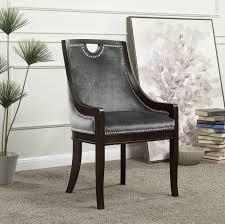 iconic home owen dining side chair velvet upholstered nailhead trim wood frame grey set of 1