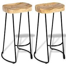 vidaXL 2 pcs Gavin <b>Bar Stools</b> Kitchen Dining Room Chair <b>Solid</b> ...