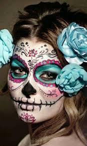 blue pink and black sugar skull design