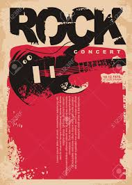 Concert Flyer Templates Free Rock Concert Poster Template With Electric Guitar On Grungy Red
