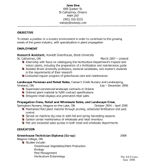 Greenhouse Resume Examples Horticulture Resume Landscaper Free Templates Cover Letter 49