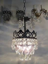 antique vintage french basket style crystal chandelier lamp 1940s 7 in diameter