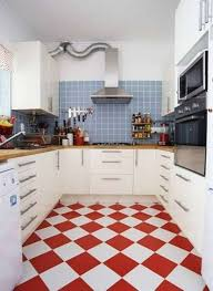 kitchen red and white floor tiles full furniture and