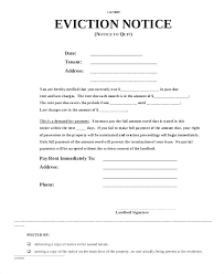 Eviction Notice Form Free Forms North Copy Of Template Petition New